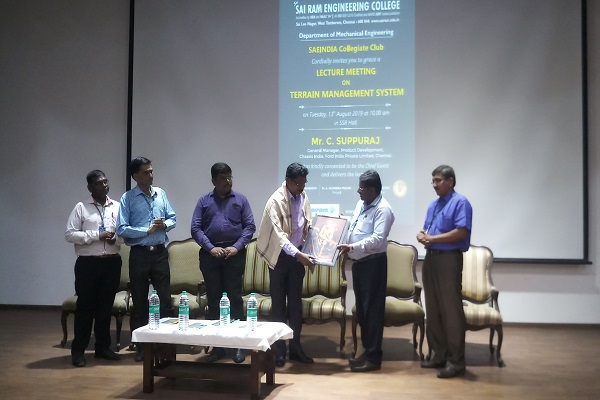 The Department Of Mechanical Engineering Saeindia Collegiate Club Organises Lecture Meeting On 13 08 2019 Mr C Suppuraj General Manager Product Development Chassis India Ford India Limited Chennai Was The Chief Guest And Delivered The
