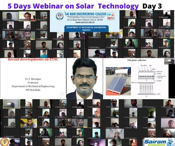 The Department Of Mechanical Engineering Conducted A Five Days Webinar On Solar Technology From 17 06 2020 To 21 06 2020 Mechanical Engineering Mech